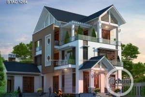 Thiết kế biệt thự 3 tầng mái thái hiện đại ở Vĩnh Phúc - BTAC 1264