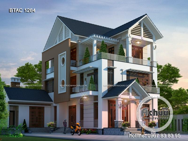 Thiết kế biệt thự 3 tầng mái thái hiện đại ở Vĩnh Phúc – BTAC 1264