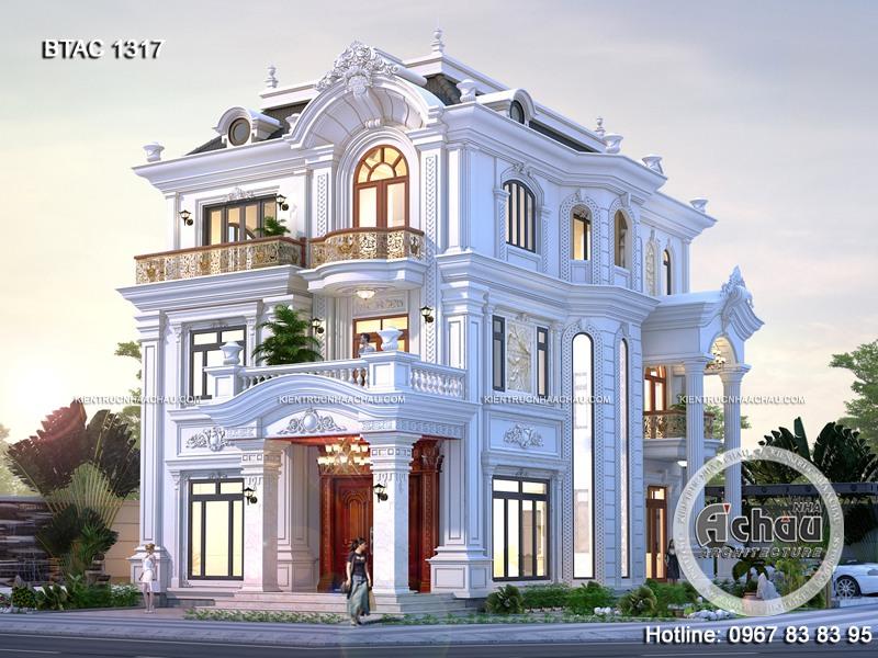 Thiết kế biệt thự 3 tầng tân cổ điển – Mặt tiền 9m tại Hà Nội – BTAC 1317