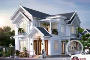 Thiết kế nhà 2 tầng đẹp - Biệt thự tại Hải Dương - BTAC 1328