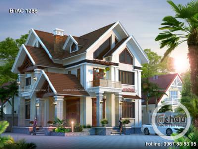 Thiết kế biệt thự 2 tầng hiện đại - Biệt thự mái thái đẹp ở Hải Phòng - BTAC 1286
