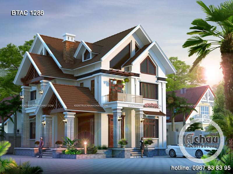 Thiết kế biệt thự 2 tầng hiện đại – Biệt thự mái thái đẹp ở Hải Phòng – BTAC 1286