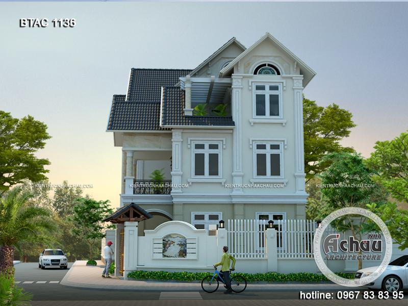 Hình ảnh thiết kế biệt thự 3 tầng mái thái Vĩnh Phúc