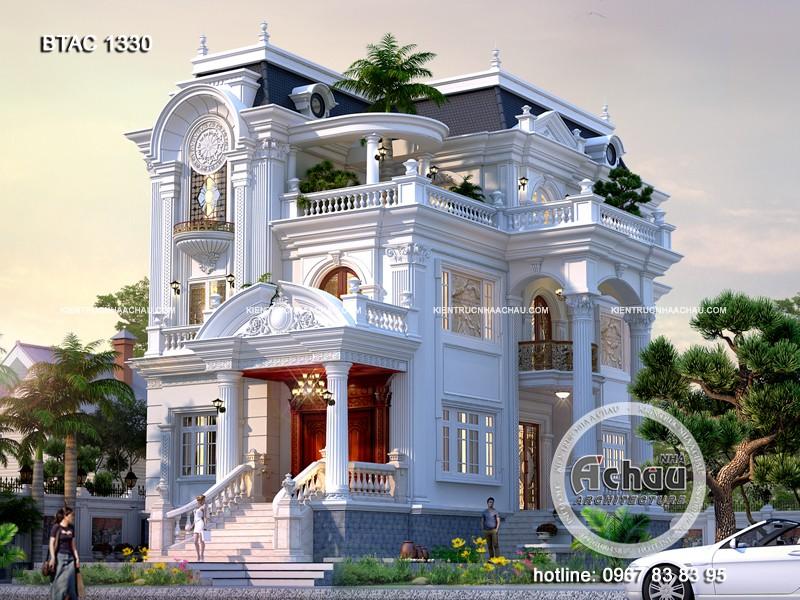 Mẫu biệt thự 3 tầng tân cổ điển đẹp – BTAC 1330
