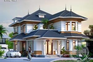Thiết kế nhà 2 tầng đẹp - Mẫu biệt thự phong cách Châu Âu - BTAC 1327
