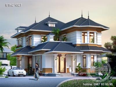 Thiết kế nhà 2 tầng đẹp – Mẫu biệt thự phong cách Châu Âu – BTAC 1327