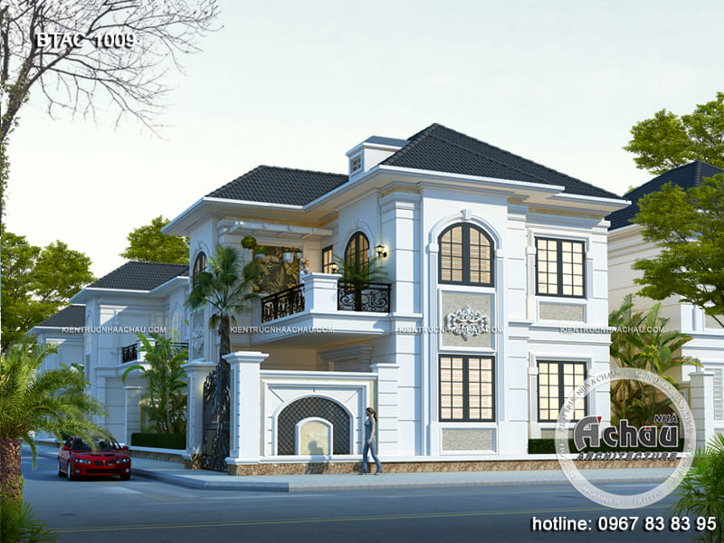 Thiết kế nhà 2 tầng đẹp - BTAC 1009 - mẫu biệt thự 2 tầng