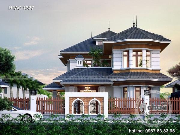 Mẫu biệt thự 2 tầng mái Thái phong cách châu Âu