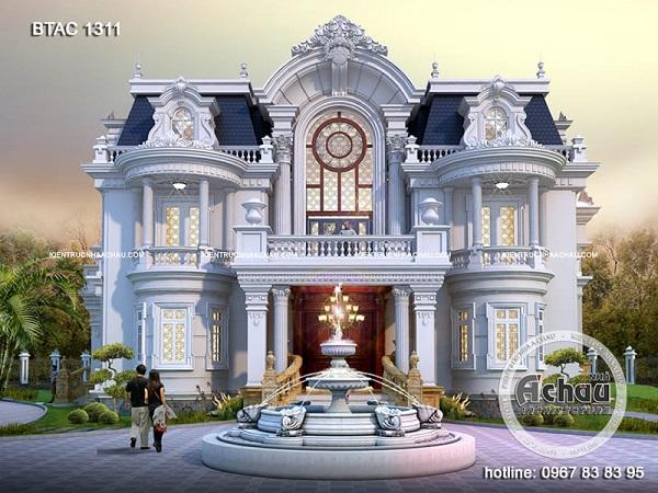 mẫu thiết kế biệt thự 3 tầng kiểu Pháp