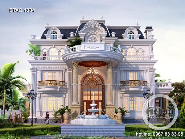 Mẫu biệt thự 3 tầng kiểu Pháp theo phong cách cổ điển