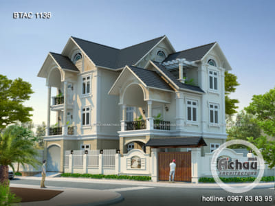 Biệt thự 3 tầng đẹp - Mẫu biệt thự mái thái