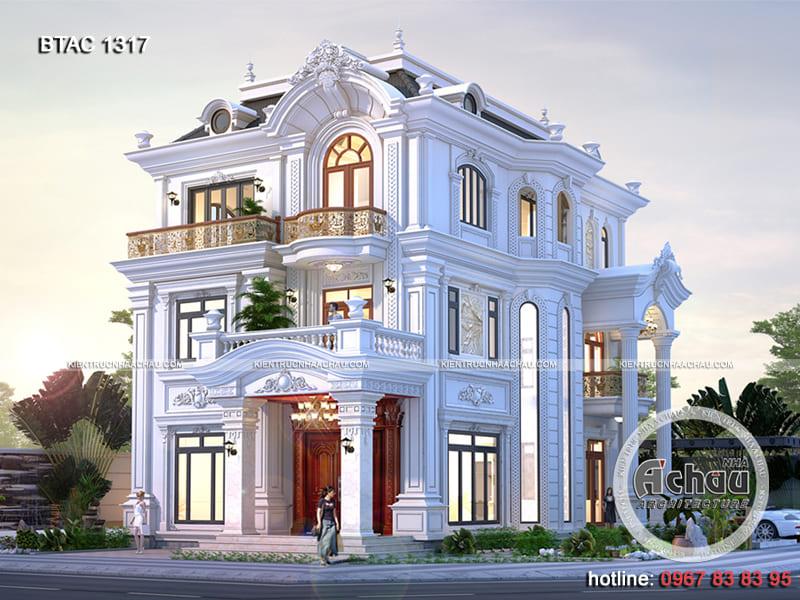 Thiết kế biệt thự 3 tầng tân cổ điển 2 mặt tiền