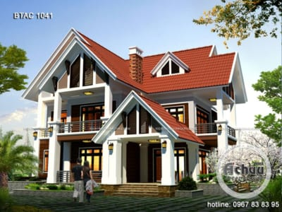 Thiết kế nhà 2 tầng đẹp - Mẫu biệt thự 2 tầng cực đẹp BTAC 1041