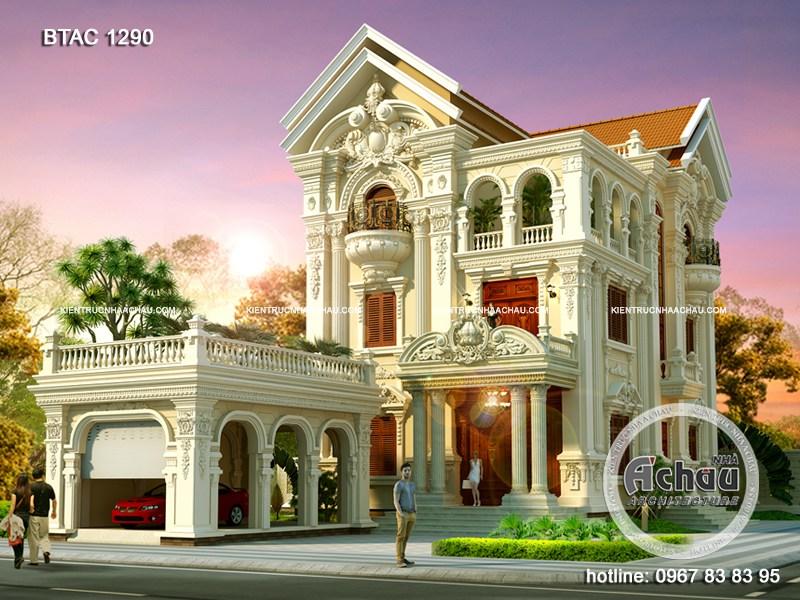Mẫu biệt thự cổ điển – Mẫu nhà 3 tầng BTAC 1290