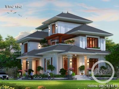 Thiết kế nhà 2 tầng đẹp – Mẫu biệt thự mái Thái đẹp BTAC 1342