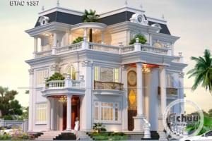 Bản vẽ thiết kế nhà đẹp - Mẫu nhà đẹp 3 tầng BTAC 1337