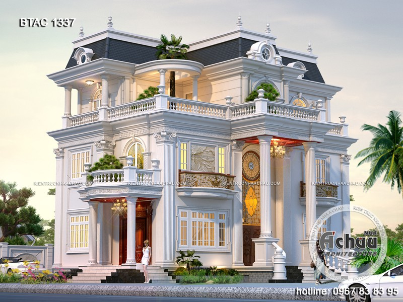 Bản vẽ thiết kế nhà đẹp – Mẫu nhà đẹp 3 tầng BTAC 1337