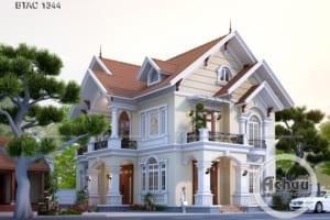 Mẫu nhà 2 tầng đẹp - Thiết kế biệt thự 2 tầng mái Thái đẹp BTAC 1344