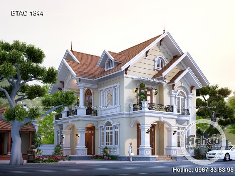Mẫu nhà 2 tầng đẹp – Thiết kế biệt thự 2 tầng mái Thái đẹp BTAC 1344