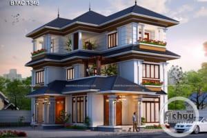 Mẫu nhà 3 tầng - Thiết kế biệt thự 3 tầng BTAC 1346