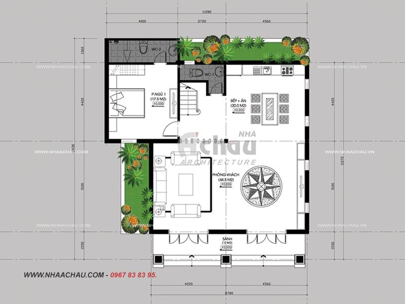 bản vẽ mặt bằng tầng 1 biệt thự 3 tầng