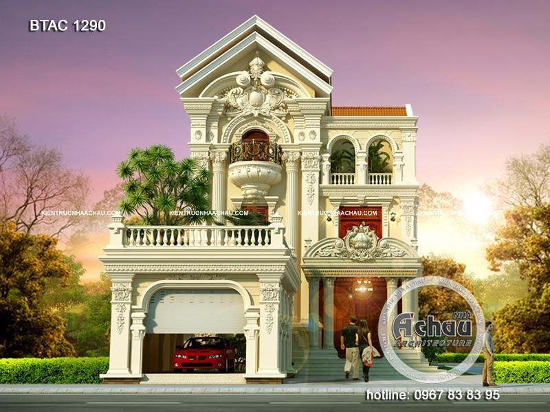 nhà 2 mặt tiền thiết kế biệt thự cổ điển đẹp