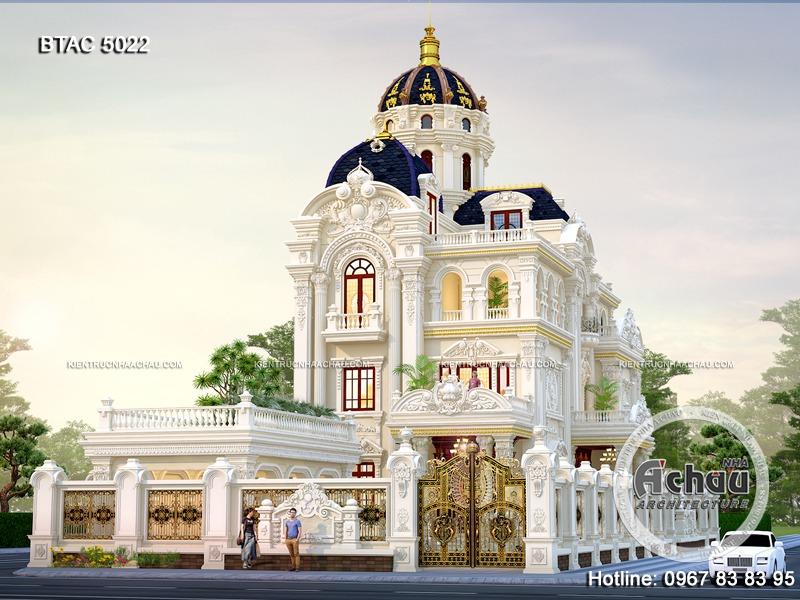 biệt thự trắng lâu đài tân cổ đẹp, biệt thự lâu đài 3 tầng