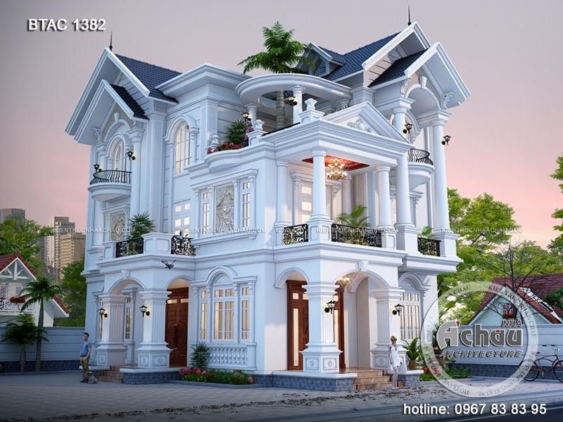 Mẫu biệt thự tân cổ điển 1382 được các kiến trúc sư Nhà Á Châu thiết kế riêng biệt, dành cho gia đình anh Quân tại Phú Thọ