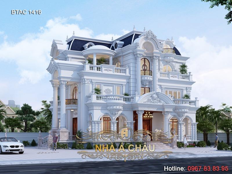 Mẫu biệt thự mái Mansard, nhà 3 tầng đẹp