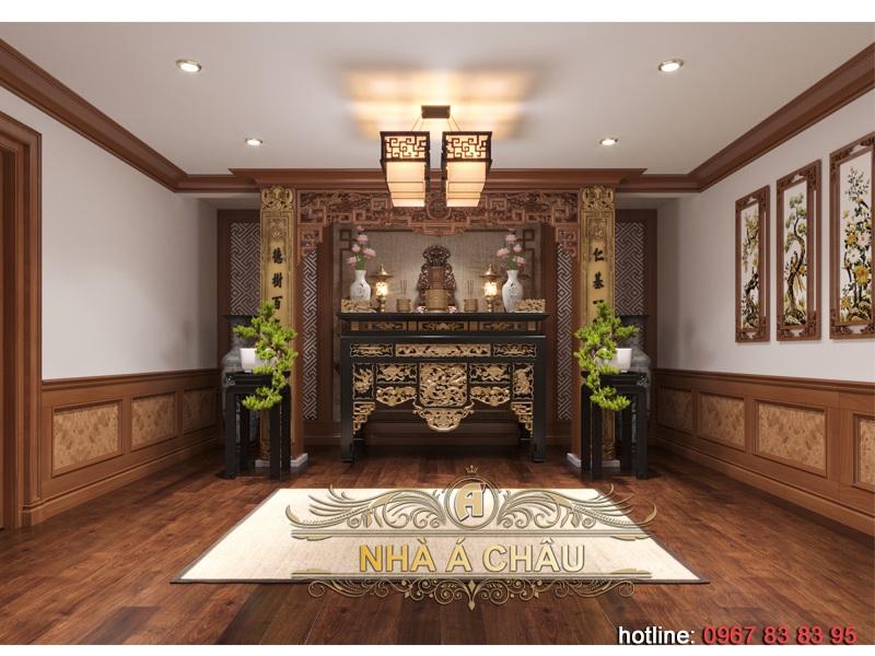 thiết kế nội thất biệt thự đẹp với phòng thờ sang trọng