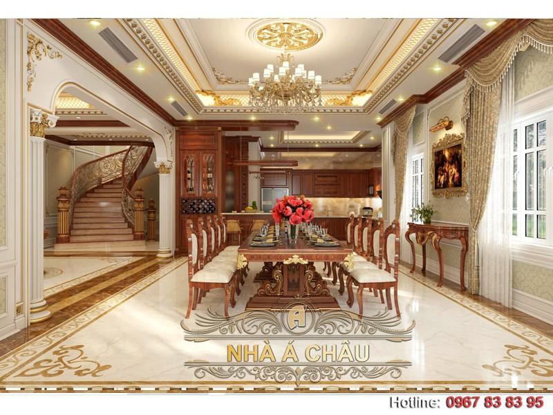 Phòng ăn được bố trí trong một không gian lớn và được phân chia khéo léo theo công năng sử dụng