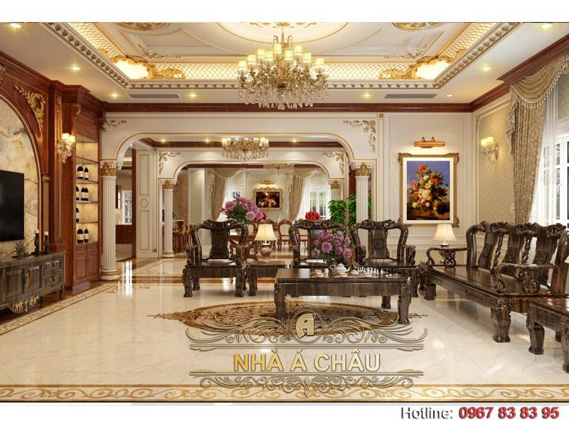 nội thất phòng khách biệt thự tân cổ điển sang trọng