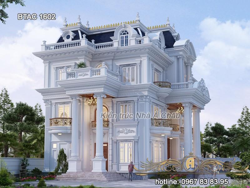 mẫu biệt thự tân cổ điển 3 tầng đẹp sang trọng 1602