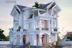 Ngất ngây với vẻ đẹp kiều diễm của mẫu biệt thự mái thái 3 tầng- BTAC 1603