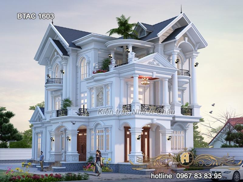 Ngất ngây với vẻ đẹp kiều diễm của mẫu biệt thự mái thái 3 tầng– BTAC 1603