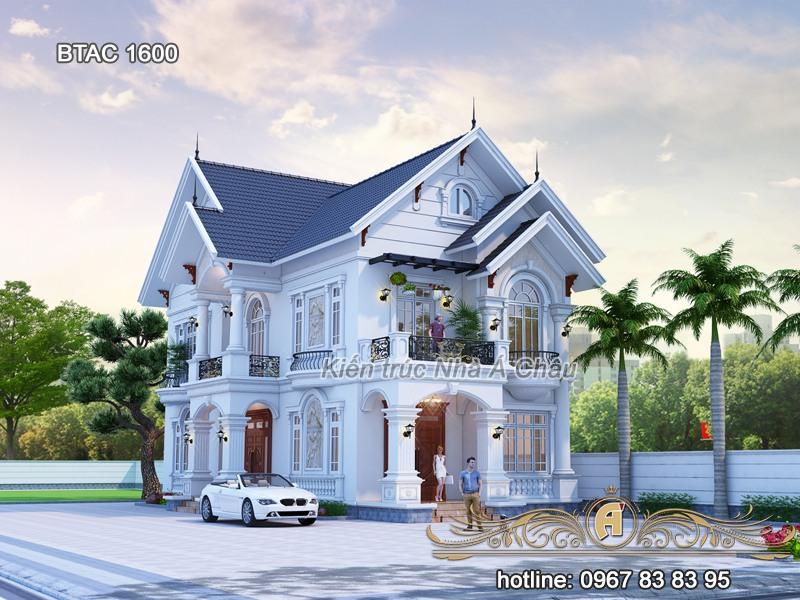 thiết kế biệt thự 2 tầng tân cổ điển mái thái đẹp
