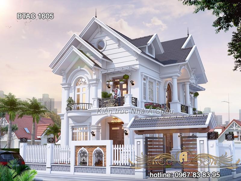 thiết kế biệt thự mái thái đẹp 2020