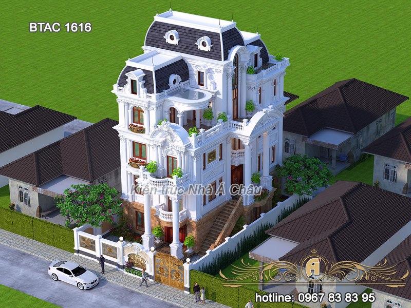 Mẫu biệt thự 4 tầng đẹp, sang trọng – BTAC 1616