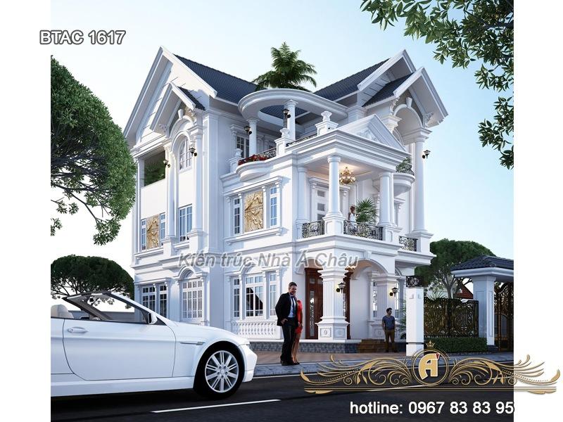 Mẫu biệt thự phố mặt tiền 9m BTAC 1617 - Biệt thự trắng