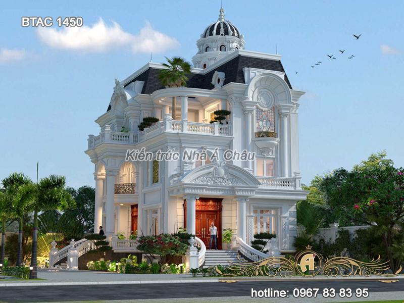 Thiết kế nhà biệt thự tân cổ điển 3 tầng BTAC 1450