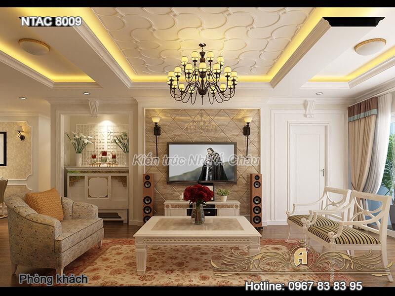 Thiết kế nội thất căn hộ chung cư với gam màu trắng tinh tế – NTAC 8009