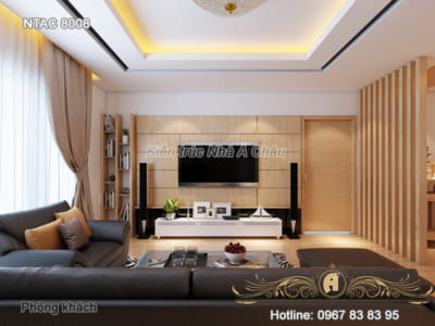 Mẫu nội thất chung cư có 2 phòng ngủ đẹp, hiện đại - NTAC 8008