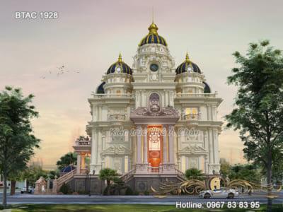 Thiết kế lâu đài 4 tầng mặt tiền 32m đẹp tại Bắc Ninh – BTAC 1928