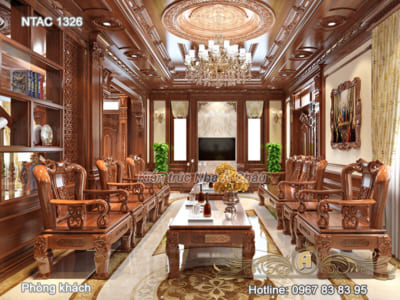Thiết kế nội thất biệt thự bằng gỗ tự nhiên –  NTAC 1326
