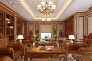 Phòng khách được thiết kế nội thất gỗ gõ đỏ siêu đẳng cấp - NTAC 1414