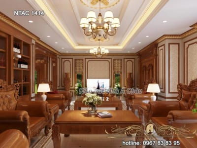 Phòng khách được thiết kế nội thất gỗ gõ đỏ siêu đẳng cấp – NTAC 1414
