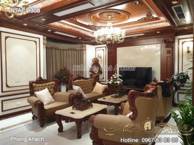 Hình ảnh thực tế mẫu thiết kế nội thất phòng khách 1308 ở Thái Nguyên