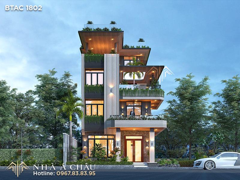 Mẫu nhà biệt thự hiện đại – Lối thiết kế kiến trúc bền vững BTAC 1802