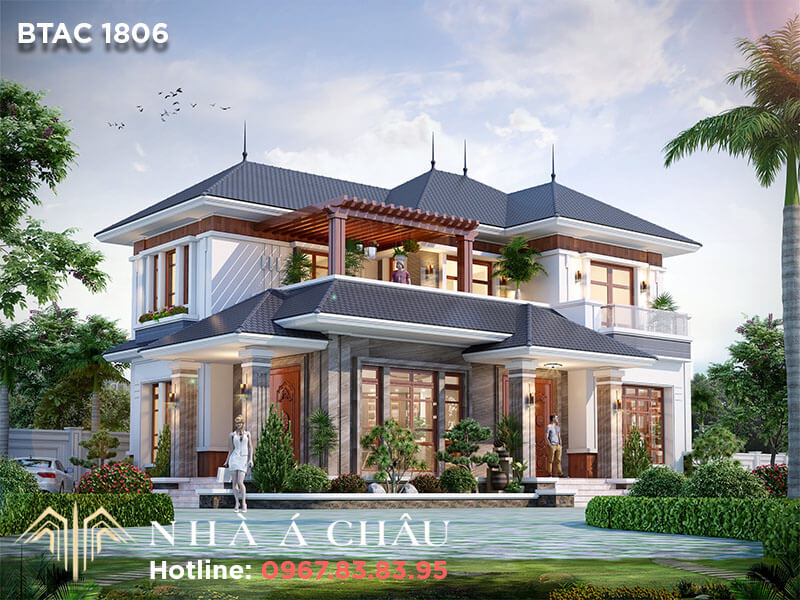 Ấn tượng với biệt thự 2 tầng mái Nhật siêu sang tại Thanh Hóa – BTAC 1806