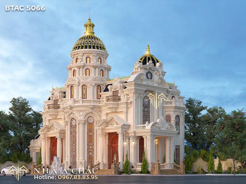 Mẫu biệt thự kiến trúc cổ điển Pháp đẹp như cung điện hoàng gia – BTAC 5066